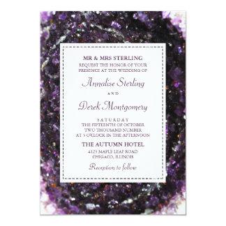 Invitación violeta Amethyst del boda de Geode el |