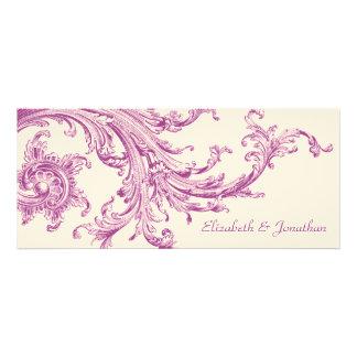 Invitación violeta del boda del barrido del vintag