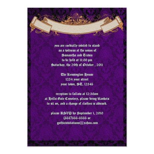 Invitación violeta elegante del boda del gótico