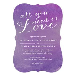 """Invitación/violeta puras del boda del amor invitación 5"""" x 7"""""""