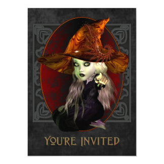 Invitación X-Grande del pequeño de la bruja fiesta