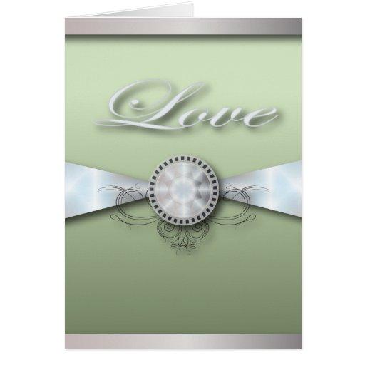 Invitación y favor elegantes del boda de la verde  tarjeta pequeña