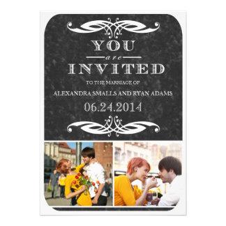 Invitación y fotos de la pizarra y del boda del re