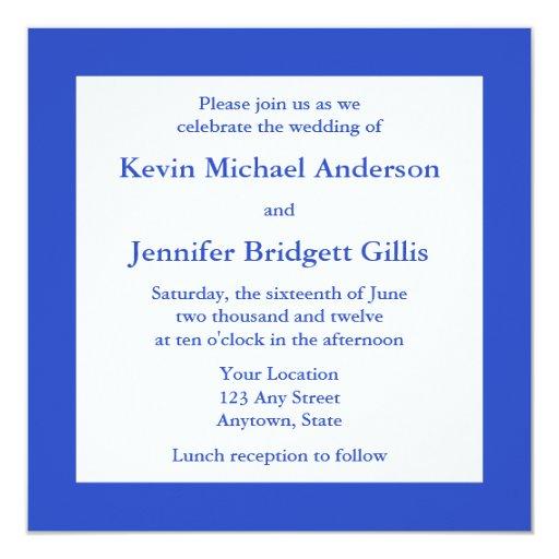 Invitación y invitación cuadradas azul marino del
