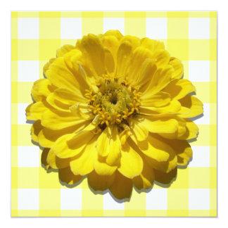Invitación - Zinnia amarillo en enrejado Invitación 13,3 Cm X 13,3cm