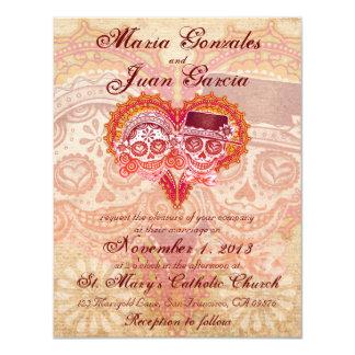 Invitaciones 2 del boda de los pares del cráneo invitacion personal