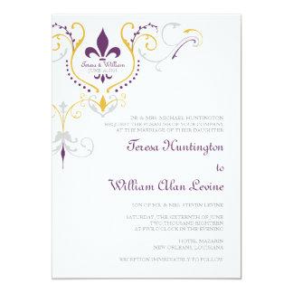 """Invitaciones 5x7 del boda de la flor de lis invitación 5"""" x 7"""""""