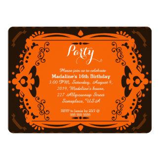 Invitaciones adornadas anaranjadas de la fiesta de invitación 16,5 x 22,2 cm