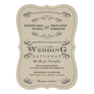 Invitaciones adornadas del boda de la arpillera de