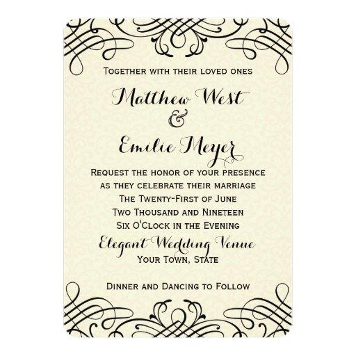 """Invitaciones adornadas del boda de la caligrafía invitación 5"""" x 7"""""""
