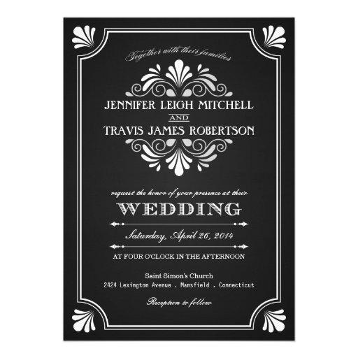 Invitaciones adornadas del boda de la pizarra del  anuncio personalizado