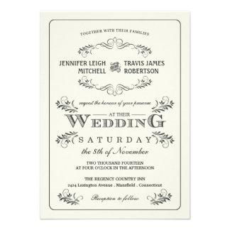 Invitaciones adornadas del boda del Flourish del v Comunicados Personales