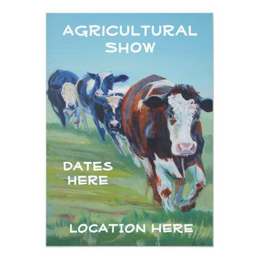 """Invitaciones agrícolas de la demostración 4 vacas invitación 5"""" x 7"""""""
