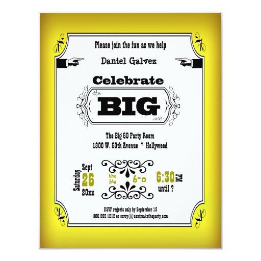 Invitaciones amarillas de la fiesta de cumpleaños invitación 10,8 x 13,9 cm