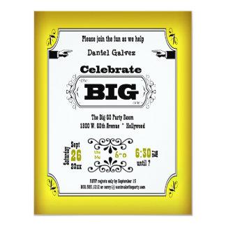 """Invitaciones amarillas de la fiesta de cumpleaños invitación 4.25"""" x 5.5"""""""