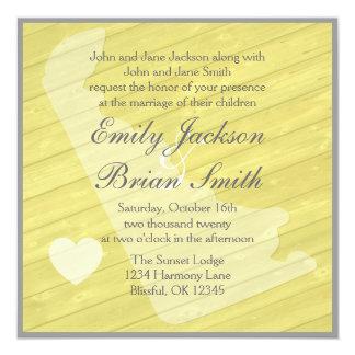 """Invitaciones amarillas de madera rústicas del boda invitación 5.25"""" x 5.25"""""""