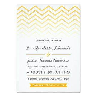 """Invitaciones amarillas del boda de Ombre Chevron Invitación 4.5"""" X 6.25"""""""