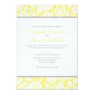 """Invitaciones amarillas del boda de Paisley Invitación 5"""" X 7"""""""