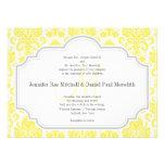 Invitaciones amarillas del boda del damasco del mo invitaciones personalizada