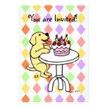 Invitaciones amarillas del cumpleaños del perrito