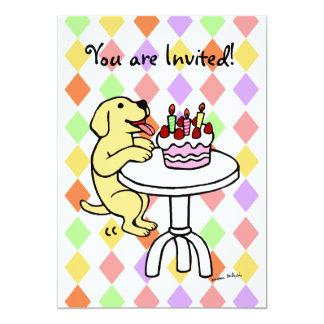 """Invitaciones amarillas del cumpleaños del perrito invitación 5"""" x 7"""""""