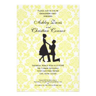 Invitaciones amarillas limón del damasco comunicado personal