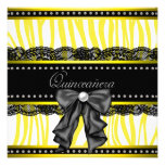 Invitaciones amarillas negras del fiesta de Quince Anuncio Personalizado