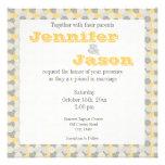 Invitaciones amarillas y grises del boda del model comunicado personal