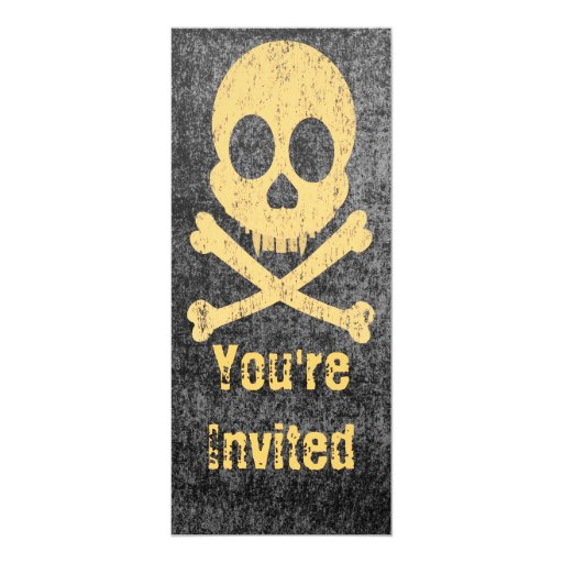 Invitaciones anaranjadas apenadas del cráneo invitación 10,1 x 23,5 cm