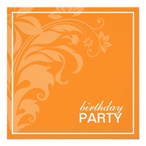 Invitaciones anaranjadas de la fiesta de cumpleaño comunicados