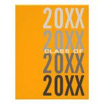 invitaciones anaranjadas de la fiesta de graduació anuncios