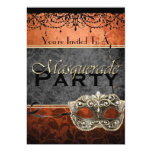 Invitaciones anaranjadas de la mascarada del invitación 12,7 x 17,8 cm