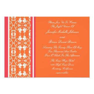 Invitaciones anaranjadas del boda de la frambuesa