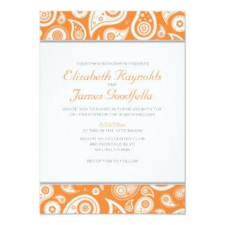 """Invitaciones anaranjadas del boda de Paisley Invitación 5"""" X 7"""""""