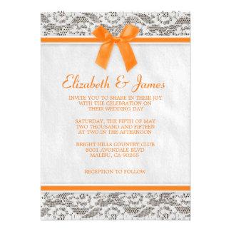 Invitaciones anaranjadas del boda del cordón del p