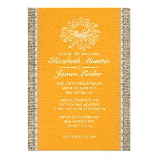 Invitaciones anaranjadas del boda del cordón del v