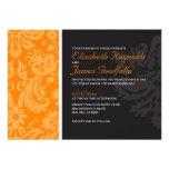 Invitaciones anaranjadas del boda del damasco