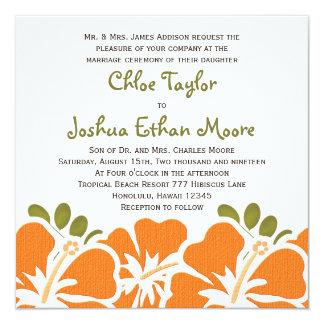 """Invitaciones anaranjadas del boda del hibisco invitación 5.25"""" x 5.25"""""""