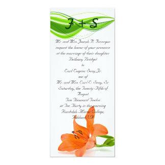 Invitaciones anaranjadas del boda del lirio invitación 10,1 x 23,5 cm