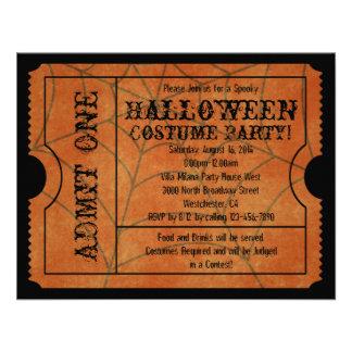 Invitaciones anaranjadas del boleto del vintage de invitaciones personales