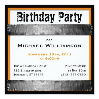 Invitaciones anaranjadas del cumpleaños de los invitacion personal