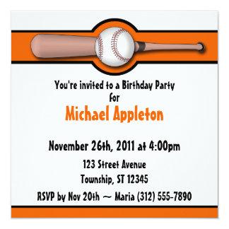 Invitaciones anaranjadas del cumpleaños del comunicado personal