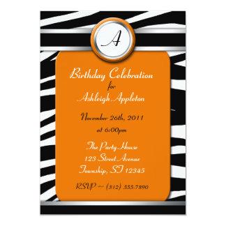 Invitaciones anaranjadas del cumpleaños del anuncio