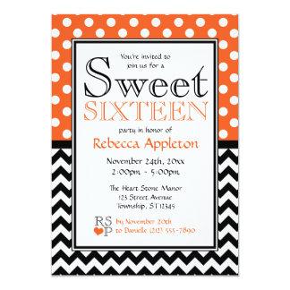 Invitaciones anaranjadas del dulce dieciséis de invitación personalizada