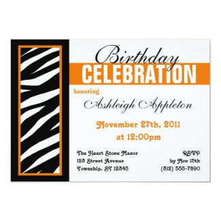 Invitaciones anaranjadas laterales de la fiesta de anuncios personalizados