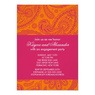 """Invitaciones anaranjadas rosadas modernas del invitación 5"""" x 7"""""""