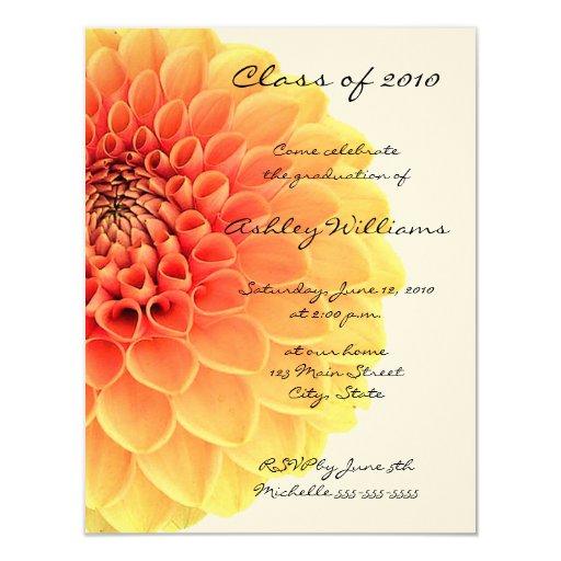 """Invitaciones anaranjadas y amarillas de la invitación 4.25"""" x 5.5"""""""