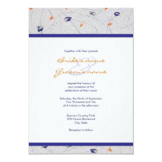 Invitaciones anaranjadas y azules del boda del invitacion personalizada