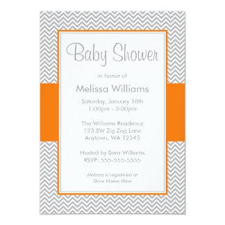 Invitaciones anaranjadas y grises de la fiesta de invitación 12,7 x 17,8 cm