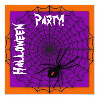 """Invitaciones anaranjadas y púrpuras de Halloween Invitación 5.25"""" X 5.25"""""""